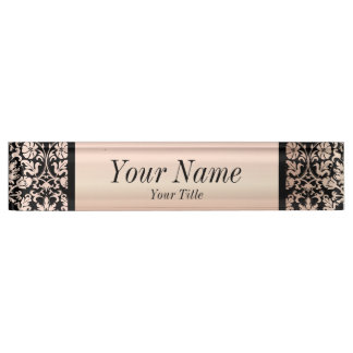 Damask Pattern in Pink Rose and Black | DIY Text Nameplate