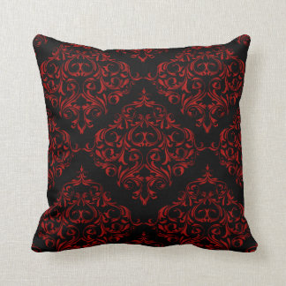 Damask Pattern in Red | DIY Background Color Throw Pillow