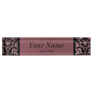 Damask Pattern in Rose Gold and Black | DIY Text Desk Name Plate