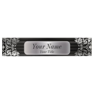 Damask Pattern in Silver Gray & Black | DIY Text Name Plate