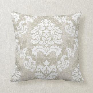 Damask Pattern Light Grey Throw Pillow