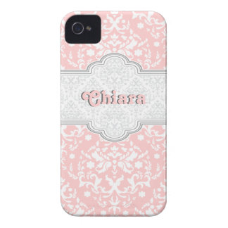 Damask pattern pale pink, white cute girly iPhone 4 Case-Mate cases