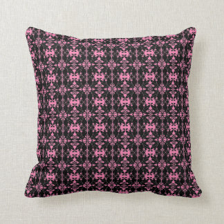 DAMASK PATTERN PILLOW, Hot Pink & Black Cushion