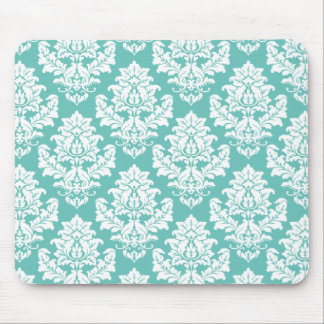 Damask pattern tiffany blue and white mouse pad