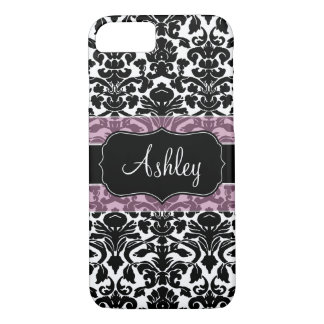 Damask Pattern with Area For Name iPhone 7 Case