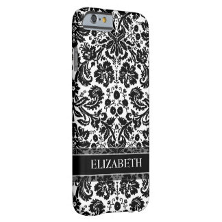 Damask Pattern with Custom Name Barely There iPhone 6 Case