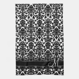 Damask Pattern with Monogram - Black and White Tea Towel