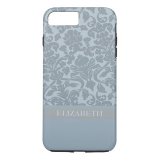 Damask Pattern with Monogram - blue iPhone 8 Plus/7 Plus Case