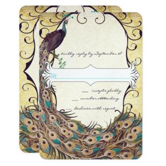 Damask Peacock Elegance Eggplant Gold and Aqua Card