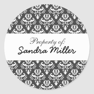 Damask personalized label round sticker
