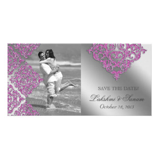 Damask Photo Card Save the Date Sparkle Pink