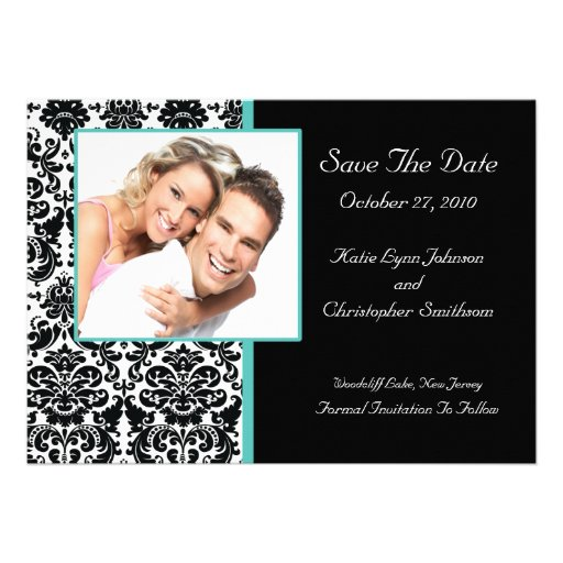 Damask Photo Save The Date Announcement