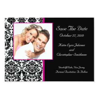 Damask Photo Save The Date HOT PINK Announcement