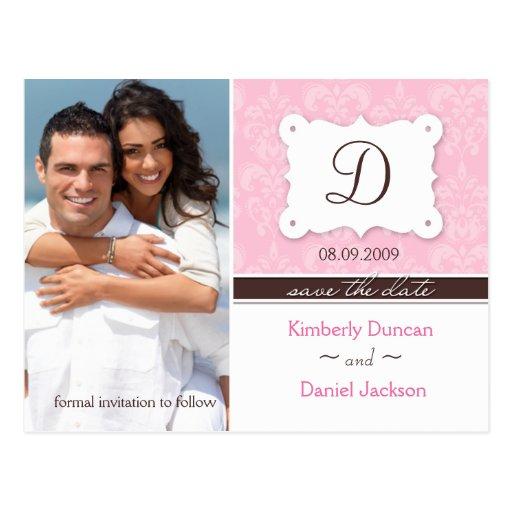 Damask Photo Save the Date Postcard