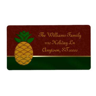 Damask Pineapple Holiday Address Labels