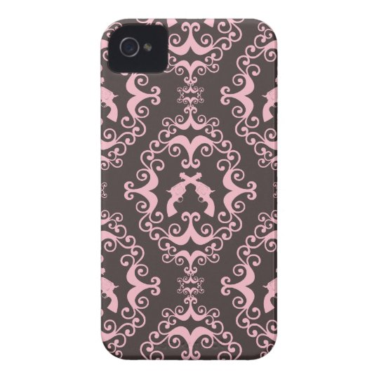 Damask pink and black guns grunge western pistols iPhone 4 Case-Mate case