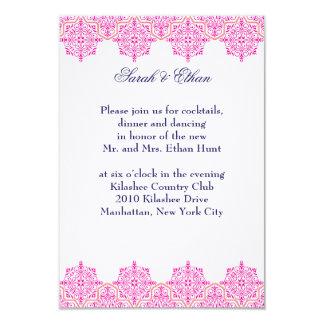 Damask pink and Orange Wedding Reception Cards 9 Cm X 13 Cm Invitation Card