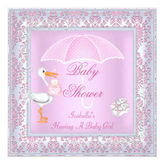 Damask Pink Baby Shower Girl Umbrella 5.25x5.25 Square Paper Invitation Card