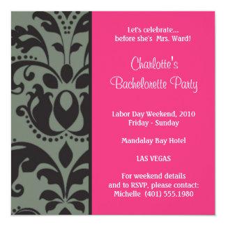 damask pink; bachelorette card