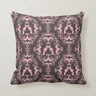Damask pink black guns grunge western pistols chic cushion
