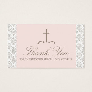 Damask Pink & Cream with Cross FAVOR CARD