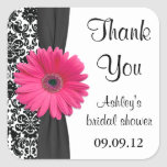 Damask Pink Daisy Wedding Bridal Shower Thank You Square Sticker