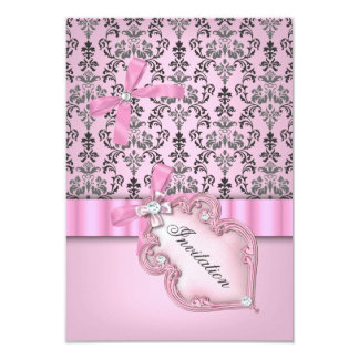 Damask Pink Gray Silver Birthday Party 9 Cm X 13 Cm Invitation Card