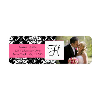 Damask Pink Monogram Photo Wedding Address Labels