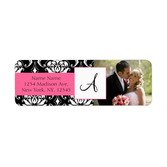 Damask Pink Monogram Photo Wedding Address Labels
