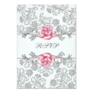 Damask Pink Rose Girls First Communion RSVP 9 Cm X 13 Cm Invitation Card