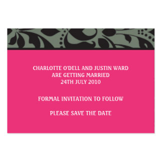 damask pink; save the date business card templates