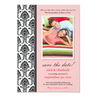 Damask Pinstripes Save the Date (pink) 5x7 Paper Invitation Card