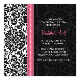 damask print birthday party 13 cm x 13 cm square invitation card