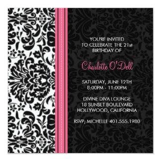 damask print birthday party card
