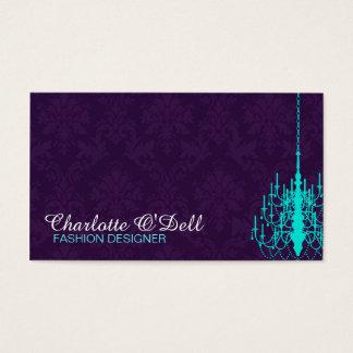 Damask Print Chandelier Business Cards