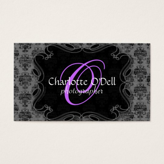 damask print monogram business card