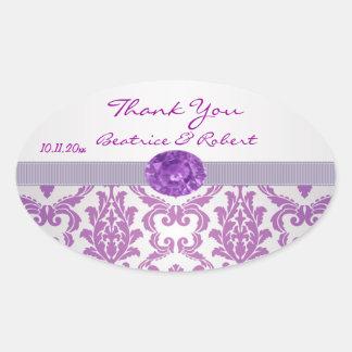 Damask purple, gemstone picture Thank You Sticker