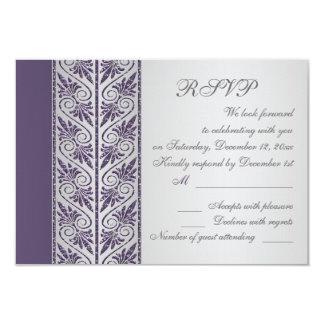 Damask purple on silver Wedding Anniversary RSVP Card