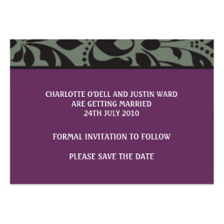damask purple; save the date business cards