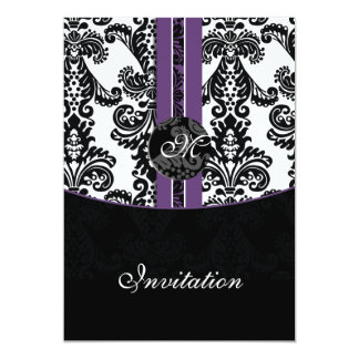 damask purple wedding invitation