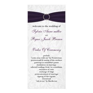 damask purple Wedding program Rack Card Design
