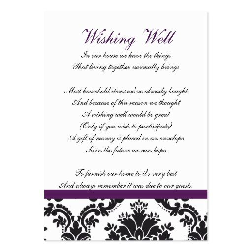 damask purple wishing well cards business card templates