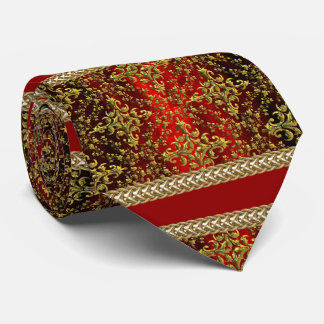 Damask Red Gold, Gold Chain Groom's Tie