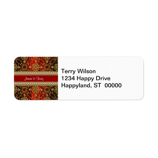 Damask Red Gold, Gold Chain Wedding Return Address Return Address Label