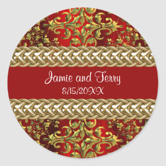 Damask Red Gold, Gold Chain Wedding Sticker