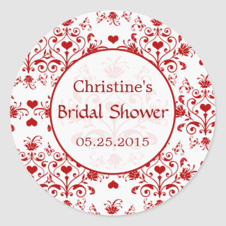 Damask red hearts swirls Bridal Shower Sticker
