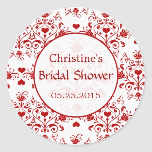Damask red hearts swirls Bridal Shower Sticker