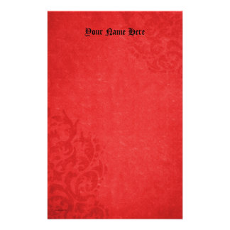 Damask  Red Scrolls Personalized Stationery