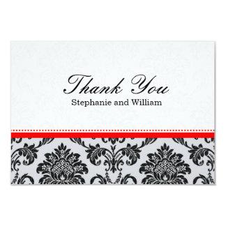 Damask Red Wedding Thank You Card 9 Cm X 13 Cm Invitation Card