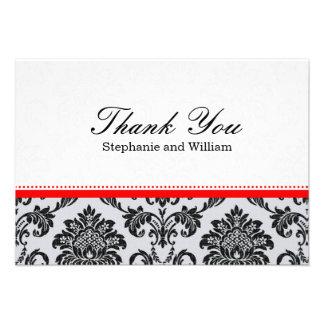 Damask Red Wedding Thank You Card Custom Invitation